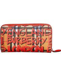 Burberry - Graffiti Print Vintage Check Leather Ziparound Wallet - Lyst