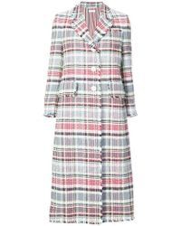 Thom Browne - Single Breasted Wide Lapel Overcoat With Fray In Madras Cotton Tweed - Lyst
