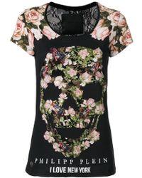 Philipp Plein - Floral Sklll Print T-shirt - Lyst
