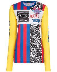 Versace - Top con logo ricamato - Lyst