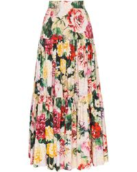 Dolce & Gabbana - Tiered Cotton Floral Maxi Skirt - Lyst