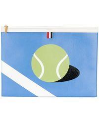 Thom Browne - Large Zipper Laptop Holder (39x28cm) With Tennis Ball Intarsia In Pebble Grain & Calf Leather - Lyst