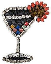 N°21 - Embellished Cocktail Glass Brooch - Lyst
