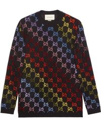 Gucci - Wool Sweater With GG Rhinestone Motif - Lyst