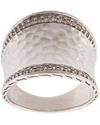 John Hardy - Classic Chain Hammered Saddle Diamond Ring - Lyst