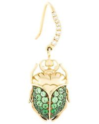 Aurelie Bidermann - 'scarab' Tsavorite And Diamond Earring - Lyst
