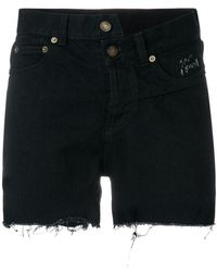 Saint Laurent - Asymmetric Denim Shorts - Lyst