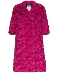 Moschino - Mid-sleeve Faux-fur Mohair Blend Coat - Lyst