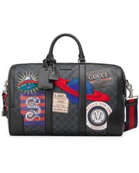 ff83f6eb0fc Lyst - Gucci Bright Diamante Leather Carry-on Duffle Bag in Brown ...