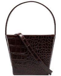 STAUD - Dark Brown Edie Faux Croc Bucket Bag - Lyst