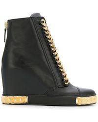 Casadei - Chain Embellished Wedge Trainers - Lyst
