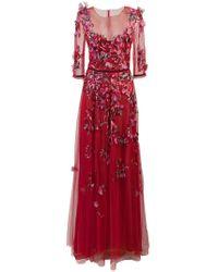 5b1aeaff8 Marchesa notte - Vestido de tul con bordado floral - Lyst
