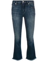 Love Moschino - Frayed Cropped Jeans - Lyst