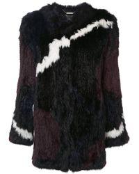 Rachel Zoe - Jagged Stripe Colour Block Fur Jacket - Lyst
