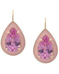 Alison Lou - 14kt Yellow Gold Pink Sapphire Drop Earrings - Lyst
