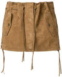 Saint Laurent - Tasselled Suede Mini Skirt - Lyst