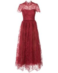 Marchesa notte - Flared Lace-embroidered Dress - Lyst