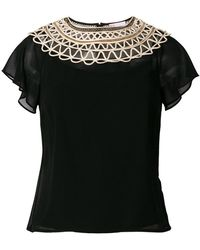 RED Valentino - Embroidered Neck Blouse - Lyst
