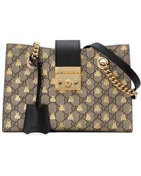 Gucci - Padlock Small GG Bees Shoulder Bag - Lyst