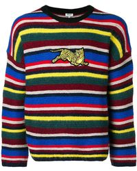 29628357 KENZO - Striped Tiger Patch Sweater - Lyst