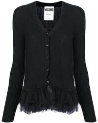 Moschino - Tulle Peplum Ribbed-knit Cardigan - Lyst