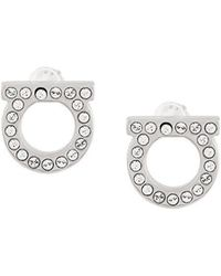 Ferragamo - Gancini Crystal Embellished Stud Earrings - Lyst