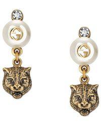 Gucci - Feline Earrings With Resin Pearls - Lyst