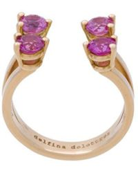 Delfina Delettrez - 4 Dots Pink Sapphires Phalanx Ring - Lyst