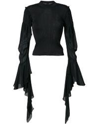Vera Wang - Draped Sheer Sleeves Jumper - Lyst