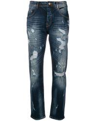 Iceberg - Distressed Straight Jeans - Lyst