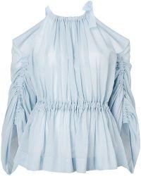 Fendi - Cold-shoulder Belted Blouse - Lyst