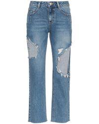 SJYP - Straight Leg Ripped Jeans - Lyst