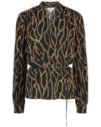L'Agence - Cara Chain-print Silk Wrap Blouse - Lyst