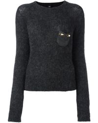 Class Roberto Cavalli - Embellished Pocket Sweater - Lyst