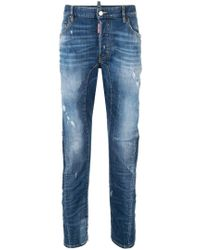 298fcf59aa9 DSquared² - Distressed Straight Leg Jeans - Lyst