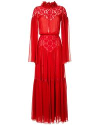 Costarellos - Cape Sleeve Lace Inset Silk Gown - Lyst