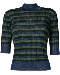 Sonia Rykiel - Striped High Neck Knitted Top - Lyst