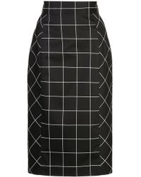 MILLY - Check Pencil Skirt - Lyst