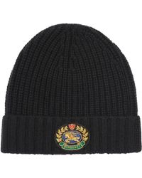 Burberry - Embroidered Crest Rib Knit Wool Cashmere Beanie - Lyst