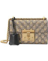 Gucci | Padlock Small Gg Bees Shoulder Bag | Lyst