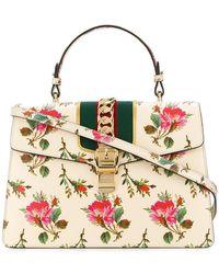 Gucci - Sylvie Floral Print Top Handle Bag - Lyst
