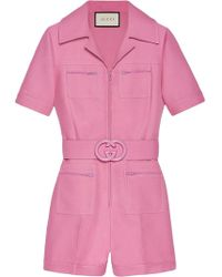 Gucci - Short Belted Playsuit - Lyst