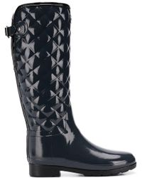 HUNTER - Original Womens Refined Tall Quilted Gloss Navy Wellington Boots - Lyst