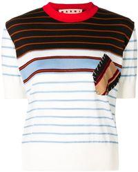 Marni - Contrast-patch Striped Sweatshirt - Lyst