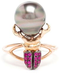 Daniela Villegas - Ruby And Pearl Beetle Ring - Lyst