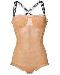 Off-White c/o Virgil Abloh - Logo Lace Bodysuit - Lyst