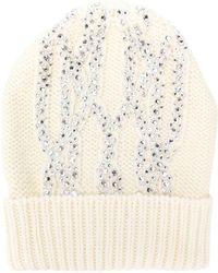 Ermanno Scervino - Knitted Embellished Hat - Lyst