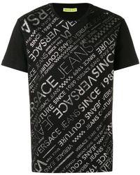 Versace Jeans - T-Shirt mit Logo-Streifen - Lyst