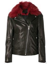 Belstaff - Fur Collar Biker Jacket - Lyst