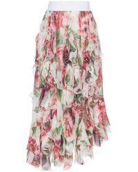 Dolce & Gabbana - High Waisted Peony Print Ruffle Silk Blend Skirt - Lyst